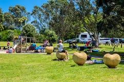 Les gens peuvent apprécier vu et détendre autour du long parc de plage de baie à Auckland, Nouvelle-Zélande Photographie stock