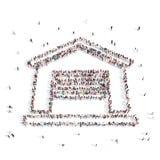 Les gens placés dans le symbole de maison illustration 3D Images stock