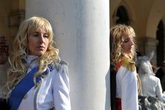 Les gens posant dans le costume dans le carnaval de Venise, Italie 2015 Photos libres de droits
