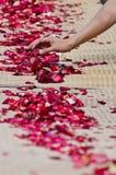 Les gens préparent les pétales roses pour les moines Image libre de droits