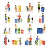 Les gens réutilisant la collection plate de rebut d'icônes illustration libre de droits