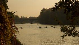 Les gens ramant sur le fleuve Pô Photos libres de droits