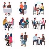 Les gens rencontrés à la barre et à la boisson wine et apprécient la soirée illustration stock