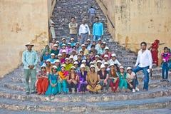 Les gens rendent visite à Amer Fort célèbre Photo stock