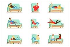 Les gens reposant à la maison la détente sur le temps gratuit de Sofa Or Armchair Having Lazy et l'ensemble de repos d'illustrati illustration de vecteur