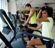 Les gens s'exerçant sur de cardio- machines d'une formation Photos stock
