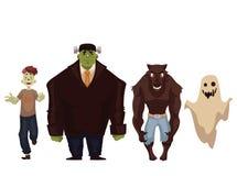 Les gens se sont habillés dans des costumes de Halloween de monstre, de zombi, de loup-garou et de fantôme Images stock