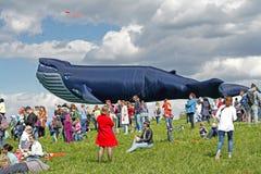 Les gens se tiennent dans la perspective d'un cerf-volant énorme de baleine au festival de cerf-volant en parc Tsaritsyno à Mosco Photos stock