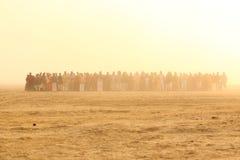 Les gens silhouettent dans l'ensemble de Sun Images libres de droits