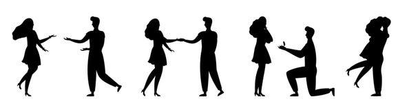 Les gens silhouettent l'ensemble romantique de vecteur de couples d'amour illustration de vecteur