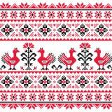 Les gens slaves ukrainiens ont tricoté le modèle rouge de broderie avec des oiseaux Photographie stock libre de droits