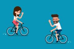Les gens sur des vélos illustration de vecteur