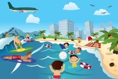 Les gens sur la plage illustration libre de droits