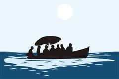 Les gens sur le bateau illustration stock
