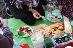 Les gens sur un pique-nique ont mis la nourriture sur des plats Images stock