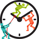 Les gens Team Stopping Clock Arrows Illustration Stock
