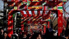 Les gens tenant des jouets marchent sous l'arcade décorée à la foire de temple en parc de Longtanhu pendant le festival de printe banque de vidéos