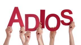 Les gens tenant des moyens d'Adios de Word d'Espagnol au revoir Images stock
