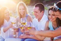 Les gens tenant des verres de vinification blanche un pain grillé à la plage Images libres de droits
