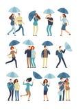 Les gens tenant le parapluie, marche extérieure en ressort pluvieux ou le jour d'automne Homme, femme dans l'imperméable sous le  illustration de vecteur