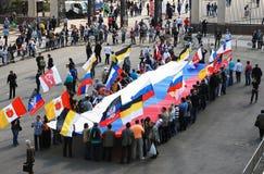 Les gens tiennent un drapeau russe. Vue du parc de Gorki. Images stock