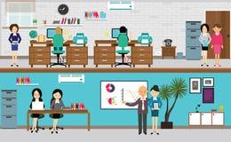 Les gens travaillant au bureau dans l'illustration plate de vecteur Image stock