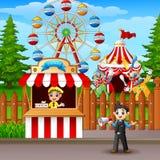Les gens travaillant au parc d'attractions Image stock