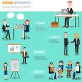 Les gens travaillant dans les éléments de Co-travail d'infographics de l'espace mauvais Image libre de droits