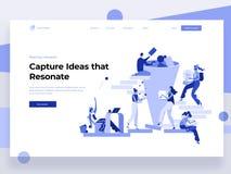 Les gens travaillent dans une équipe, produisent des idées tout en agissant l'un sur l'autre avec des formes Analyse de données,  illustration stock