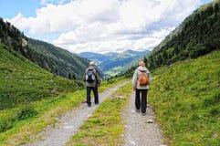 Les gens trimardant par le paysage alpin de la vallée de Zillertal Photo stock