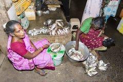 Les gens vendant des poissons à un marché en plein air, marché quotidien de canalisation Photos stock