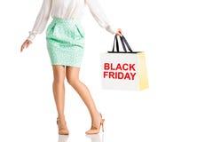 Les gens, vente, concept noir de vendredi - femme avec des paniers Photographie stock