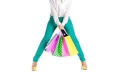 Les gens, vente, concept noir de vendredi - femme avec des paniers Photo stock