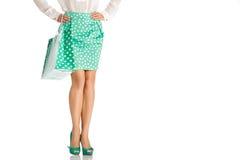 Les gens, vente, concept noir de vendredi - femme avec des paniers Images libres de droits