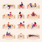 Les gens vivent et travaillent à Sofa Cartoon Illustration illustration de vecteur
