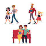 Les gens vont au cinéma, film avec le maïs éclaté, boissons, les verres 3d Illustration de Vecteur