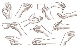 Les gestes de main ont placé 2 illustration stock