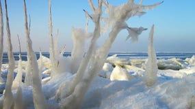 Les glaçons de glace s'approchent du lac, Lithuanie Images stock