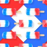 Les glaces à l'eau de crème glacée rouges, blanches et le bleu colore le modèle sans couture Illustration courante de vecteur Images stock