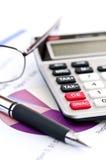 les glaces de calculatrice parquent l'impôt Image libre de droits