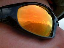 Les glaces du cycliste de montagne Images libres de droits