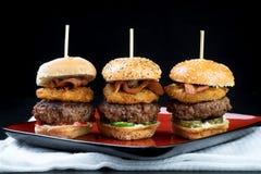Les glisseurs étoffent de mini hamburgers grands partageant la nourriture photo stock