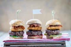Les glisseurs étoffent de mini hamburgers grands partageant la nourriture images libres de droits