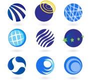 Les globes abstraits, sphères, entoure des graphismes Images libres de droits