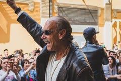 Les-Gold des Fernsehserie eingefleischten Pfandes bei Fuorisalone während MI Stockbild