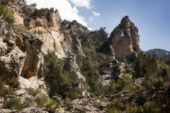 Les gorges de Regatxol, visibilité directe met en communication des montagnes photographie stock
