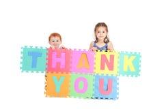 Les gosses vous remercient de signer Photo stock