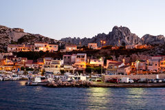 Les Goudes in Marseille. View of Les Goudes at dusk in Marseille on August 7, 2013. Les Goudes  is a quarter outside the city of Marseille, in the 8th Royalty Free Stock Image