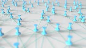 Les goupilles et les fils cyan composent un réseau sur un tableau d'affichage rendu 3d Images libres de droits