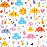 Les gouttes de pluie mignonnes de parapluies fleurit le modèle sans couture de ciel de nuages Images stock
